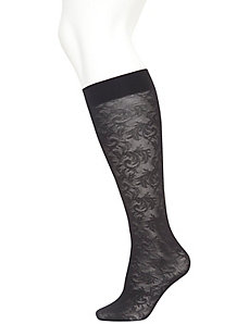 Lace & solid trouser sock 2-pack