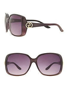 Square frame circle accent sunglasses