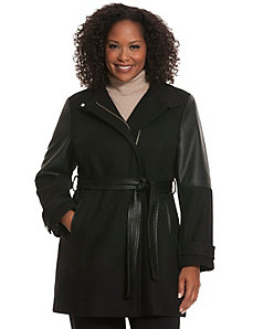 Faux leather & wool coat