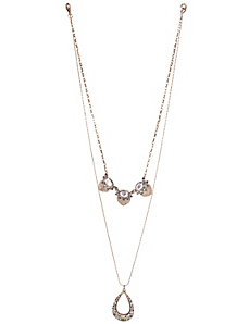 Stone teardrop 2 in 1 necklace by Lane Bryant