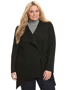 Asymmetric boiled wool coat