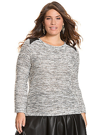 Textured sweatshirt with faux leather