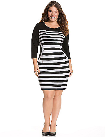 Striped sweater dress by Lane Bryant