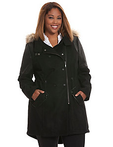 Faux wool coat with fur trim
