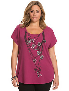 Embellished necklace tee