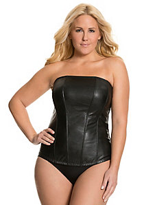 Faux leather corset