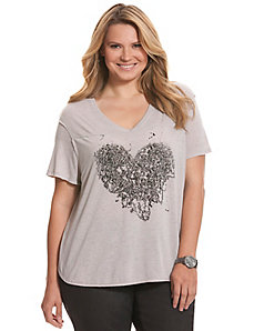 Safety pin heart tee