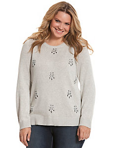 Embellished pullover sweater