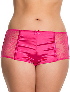 Satin boyshort with lace sides
