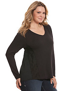 Chiffon back tee with lace