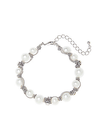 Chain wrapped faux pearl bracelet by Lane Bryant