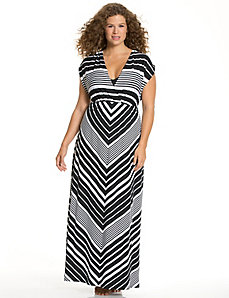 Striped maxi swim cover-up