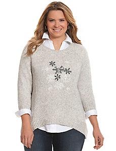 Snowflake intarsia sweater