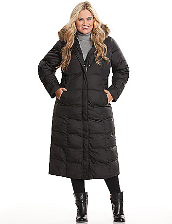 Plus size long puffer coat