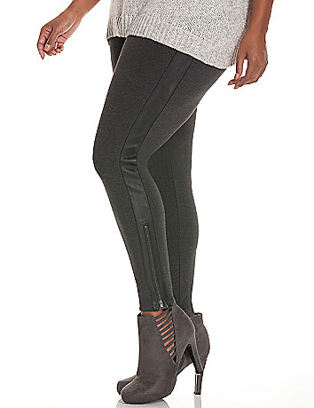 Control Tech ponte & faux leather skinny pant
