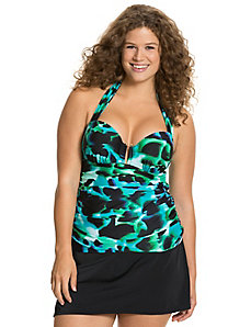 Blurred print swim tank with built in balconette bra