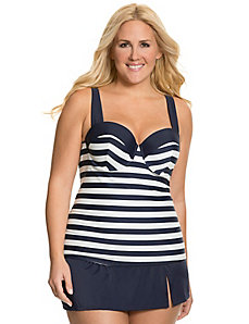 Striped swim tank with built in balconette bra