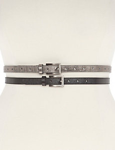 Textured skinny belt duo