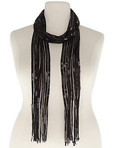 Sequin scarf with fringe