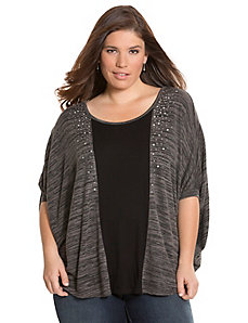 Embellished hacci cocoon top
