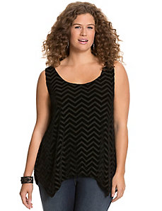 Velvet chevron burnout tank