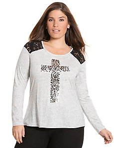 Lace shoulder embellished cross tee