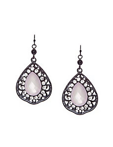 Filigree stone teardrop earrings