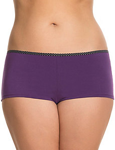 Cotton boyshort panty with printed trim