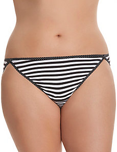 Sassy cotton string bikini with printed trim