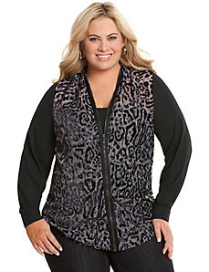 Zip front animal print blouse