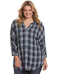 Plaid dolman top