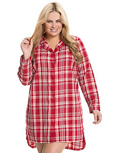 Plaid button down sleep shirt