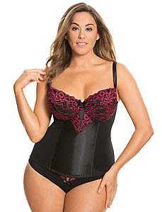 Embroidered lace cup corset