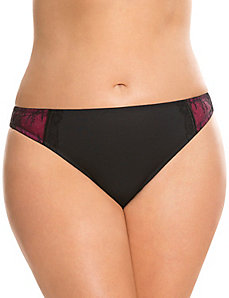 Lace side thong panty with bow