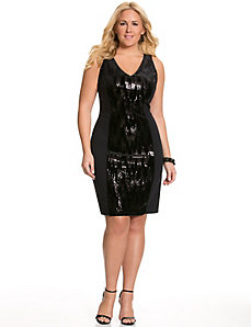 Sequin & velvet sheath dress