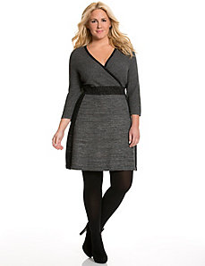 Metallic colorblock sweater dress