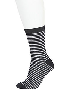 Metallic stripe and solid crew sock 2-pack