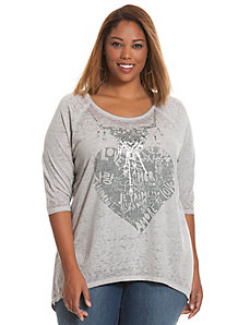 Embellished heart burnout tee