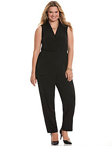 Simply Chic draped surplice jumpsuit