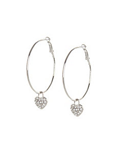Hoop earrings with heart charms
