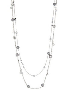Faux pearl & bead 2-row necklace