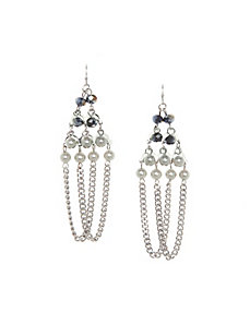Bead & chain chandelier earrings