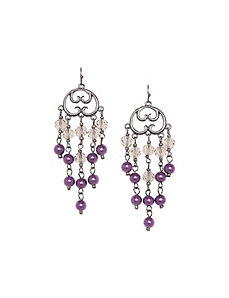 Faux pearl & bead chandelier earrings