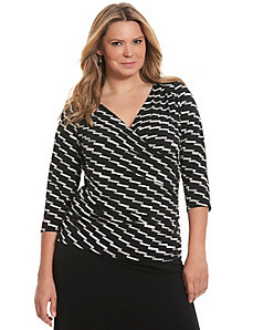 Simply Chic matte Jersey printed surplice top