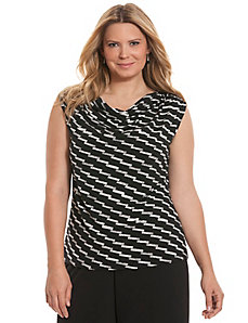 Simply Chic matte Jersey printed drape neck tank