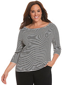 Striped 3/4 sleeve delicate ribbed tee