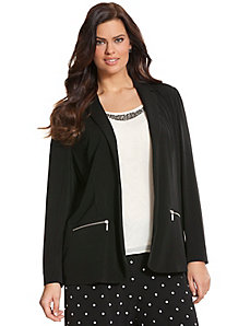Simply Chic matte Jersey jacket with zipper trim