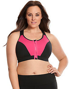 Zip front double hook sport bra