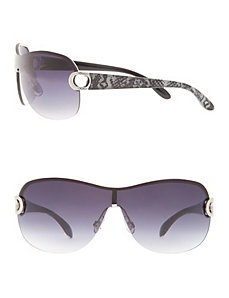 Shield sunglasses with printed arms