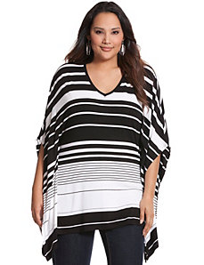 Striped knit drama top